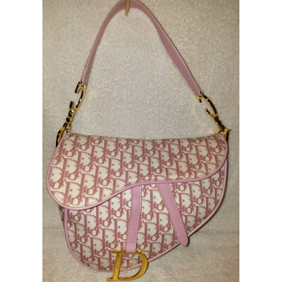 Dior Handbags - Pink monogram Jacquard and leather saddle bag ea2bb6dec58d7